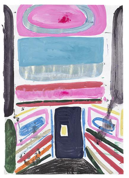 Tal R 	GLOBUS  2014 	Gouache on paper 	11 3/4 x 8 1/4 inches 	29.8 x 21 centimeters