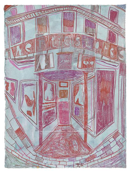 Tal R 	EROTIQUE STORE  2015 	Crayon on painted paper 	15 x 11 inches 	38.1 x 27.9 centimeters
