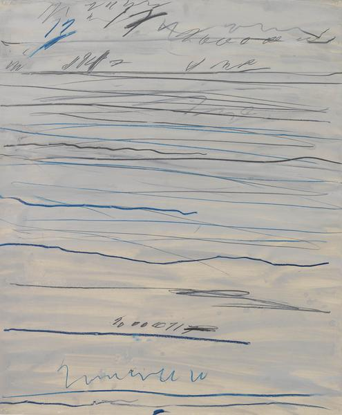 Cy Twombly 	UNTITLED (RAMIFICATIONS)  1971 	Oil-base housepaint, graphite and colored wax crayon on paper 	33 1/2 x 27 1/2 inches 	85.1 x 69.9 centimeters