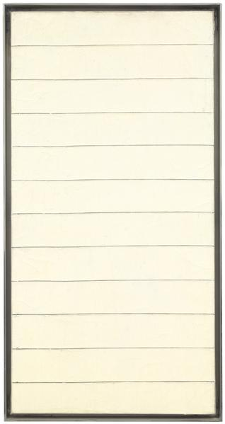 Agnes Martin 	UNTITLED  1959 	Oil on canvas 	23 5/8 x 12 inches 	60 x 30.5 centimeters