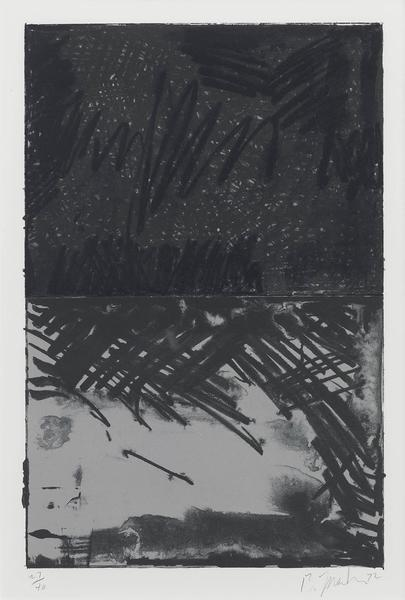 Brice Marden 	NO. 3, FROM UNTITLED PRESS SERIES  1972 	Lithograph in colors 	26 1/8 x 19 1/8 inches 	66.4 x 48.6 centimeters