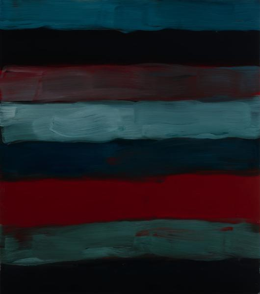 Sean Scully 	SOMEBODY'S ANGEL  2017 	Oil on aluminum 	85 x 75 x 2 inches 	215.9 x 190.5 x 5.1 centimeters
