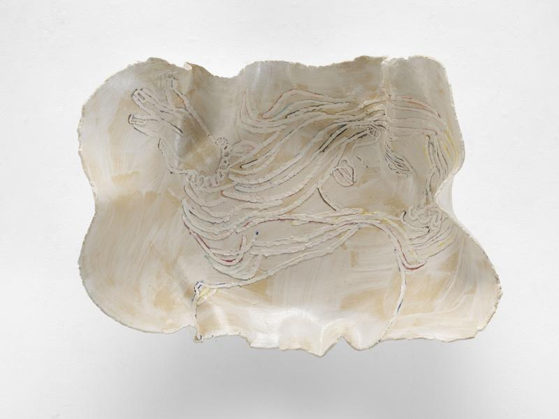 Ghada Amer 	THE WHITE PLATE 2017 	Glazed ceramic 	25 x 34 x 12 inches 	63.5 x 86.4 x 30.5 centimeters
