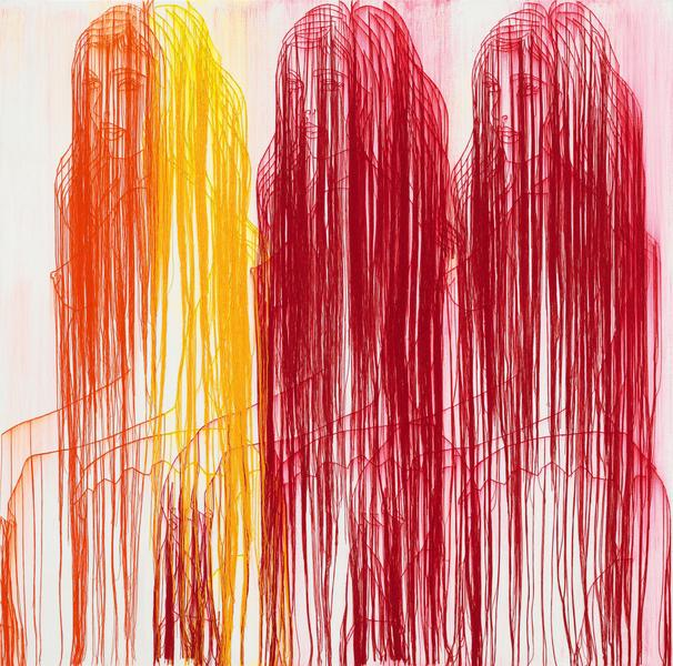 Ghada Amer 	A SUMMER IN INDIA  2017 	Acrylic, embroidery and gel medium on canvas 	45 x 45 inches 	114.3 x 114.3 centimeters