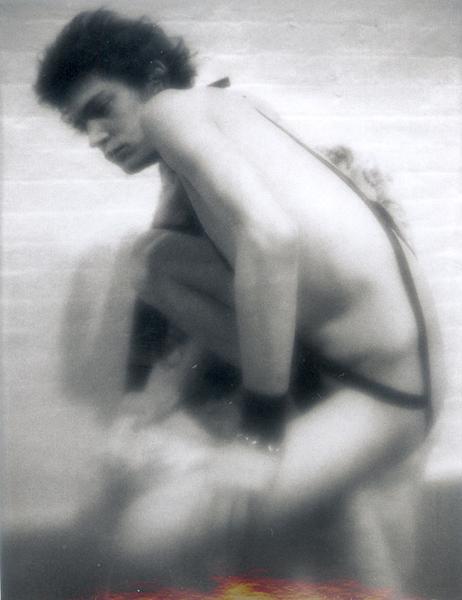 Robert Mapplethorpe (1946 - 1989) UNTITLED (SELF PORTRAIT), circa 1972 Polaroid (B/W ) 4 1/4 x 3 1/4 inches 10.8 x 8.3 centimeters MAP# PD297 CR# MA.4308