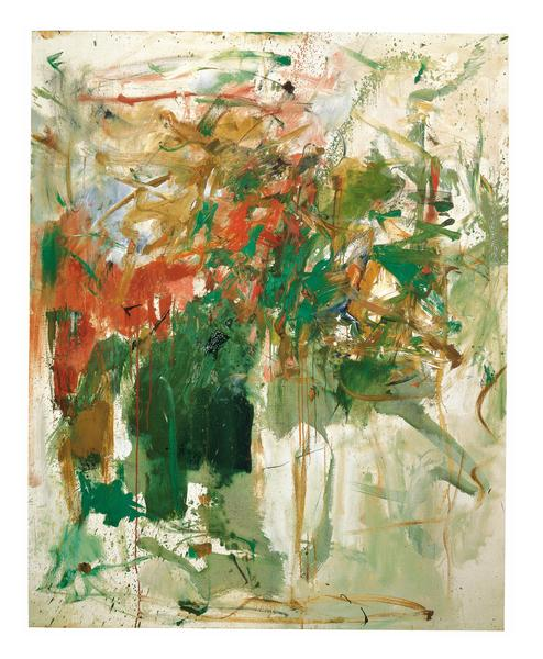 Joan Mitchell 	GARDEN PARTY  1961-62 	Oil on canvas 	63 1/2 x 50 3/4 inches 	161.3 x 128.9 centimeters 	©Estate of Joan Mitchell