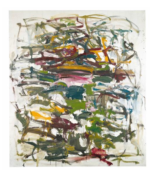 Joan Mitchell 	UNTITLED  1958 	Oil on canvas 	78 3/8 x 68 5/8 inches 	199.1 x 174.3 centimeters 	©Estate of Joan Mitchell