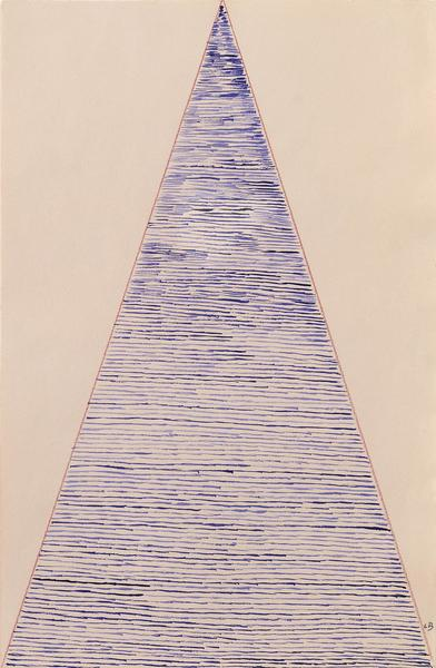 Louise Bourgeois 	UNTITLED  2003 	Watercolor on colored pencil on pink paper 	16 7/8 x 11 inches 	42.9 x 27.9 centimeters