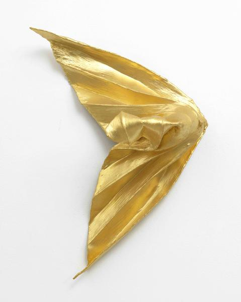 Lynda Benglis 	NAR  1980 	Bronze screen, Hydrocal, gesso and gold leaf 	33 x 25 x 10 3/4 inches 	83.8 x 63.5 x 27.3 centimeters