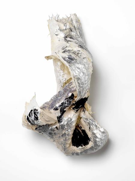 Lynda Benglis WOOPEE 2015 Handmade paper over chicken wire, ground coal with matte medium, acrylic medium, glitter 33 x 20 x 14 inches 83.8 x 50.8 x 35.6 centimeters