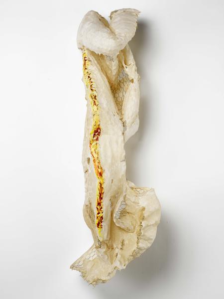 Lynda Benglis CURTAINS 2015-16 Handmade paper over chicken wire, acrylic, acrylic medium, glitter 66 x 22 x 18 inches 167.6 x 55.9 x 45.7 centimeters