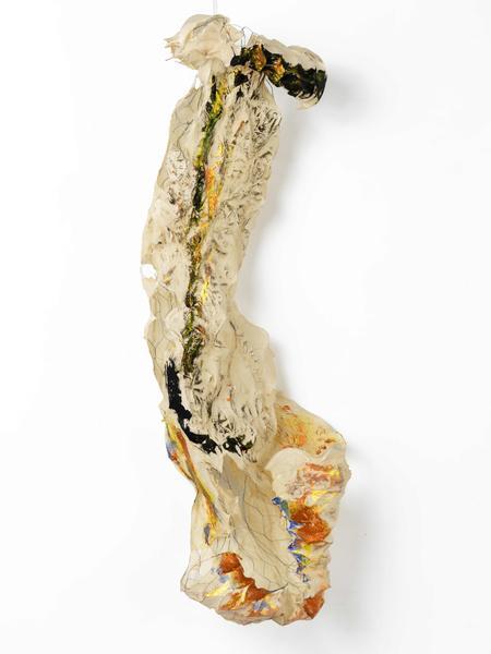 Lynda Benglis ATTITUDE 2015-16 Handmade paper over chicken wire, ground coal with matte medium, acrylic, acrylic medium, glitter 57 x 14 x 11 inches 144.8 x 35.6 x 27.9 centimeters