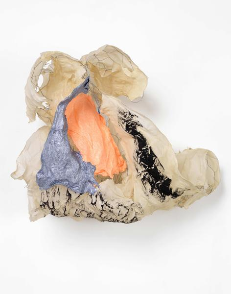 Lynda Benglis DOUBLE SCUDDER 2016 Handmade paper over chicken wire, cast glitter on handmade paper, ground coal with matte medium 25 x 29 x 16 inches 63.5 x 73.7 x 40.6 centimeters