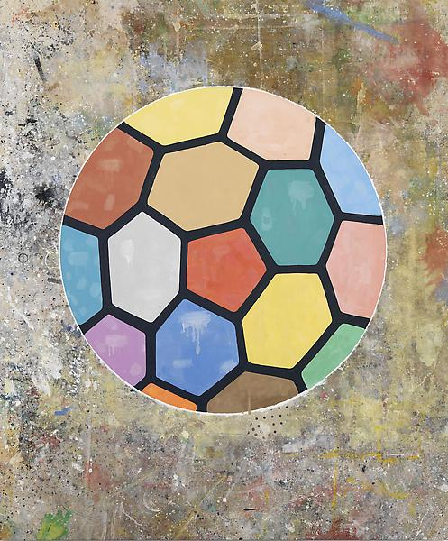 Donald Baechler COLORFUL BALL 2009 Acrylic on canvas dropcloth 156 x 130 inches 396.2 x 330.2 centimeters