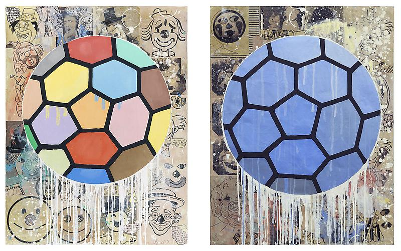 Donald Baechler TWO BALLS 2010 Gesso, flashe and paper collage on paper, diptych 52 x 40 inches each 132.1 x 101.6 centimeters each