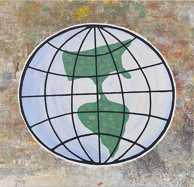 Donald Baechler GLOBE 2009 Acrylic on canvas dropcloth 126 1/2 x 132 inches 321.3 x 335.3 centimeters