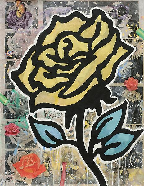 Donald Baechler YELLOW ROSE 2010 Gesso, flashe and paper collage on paper 52 x 40 inches 132.1 x 101.6 centimeters