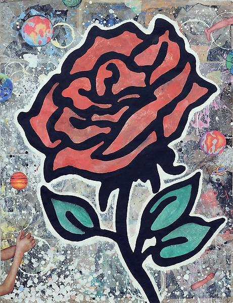 Donald Baechler RED ROSE 2010 Gesso, flashe and paper collage on paper 52 x 40 inches 132.1 x 101.6 centimeters
