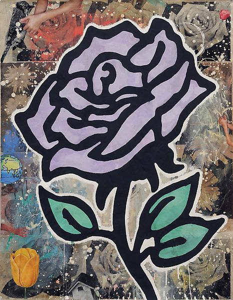 Donald Baechler PURPLE ROSE 2010 Gesso, flashe and paper collage on paper 52 x 40 inches 132.1 x 101.6 centimeters