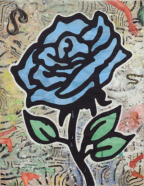 Donald Baechler BLUE ROSE 2010 Gesso, flashe and paper collage on paper 52 x 40 inches 132.1 x 101.6 centimeters
