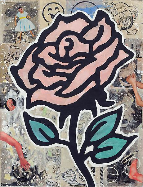 Donald Baechler PINK ROSE 2010 Gesso, flashe and paper collage on paper 52 x 40 inches 132.1 x 101.6 centimeters