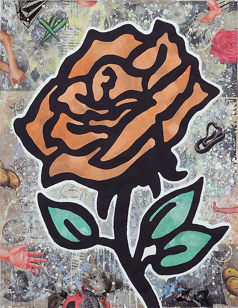 Donald Baechler ORANGE ROSE 2010 Gesso, flashe and paper collage on paper 52 x 40 inches 132.1 x 101.6 centimeters
