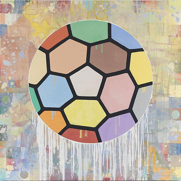 Donald Baechler COLORFUL BALL 2010 Acrylic and fabric collage on canvas 80 x 80 inches 203.2 x 203.2 centimeters