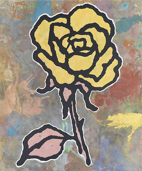 Donald Baechler YELLOW ROSE 2010 Acrylic and fabric collage on canvas 156 x 130 inches 396.2 x 330.2 centimeters