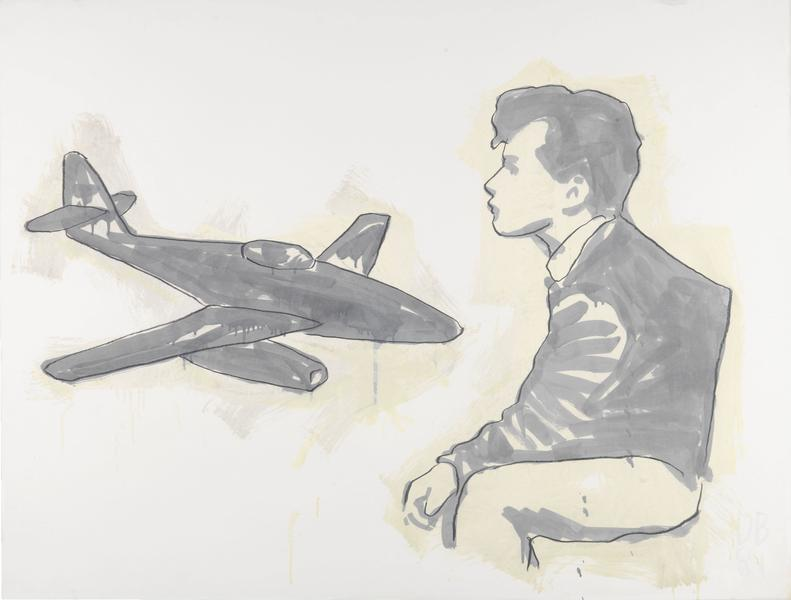 Donald Baechler 	MONOTONE DRAWING WITH AIRPLANE  1981 	Graphite and oil-based enamel on paper 	35 x 46 inches 	88.9 x 116.8 centimeters