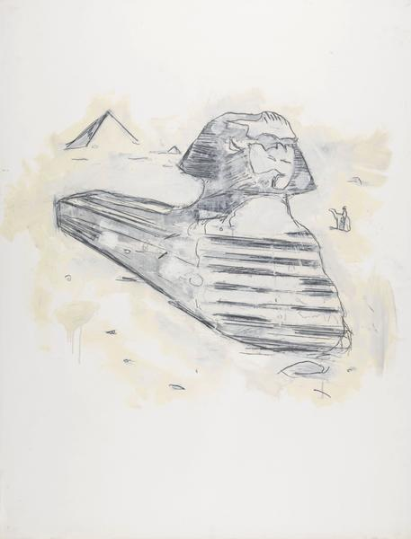 Donald Baechler 	SPHINX  1981 	Graphite and oil-based enamel on paper 	46 x 35 inches 	116.8 x 88.9 centimeters