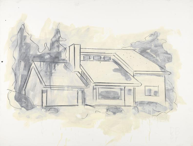 Donald Baechler 	SUBURBAN HOUSE DRAWING  1981 	Graphite and oil-based enamel on paper 	35 x 46 inches 	88.9 x 116.8 centimeters