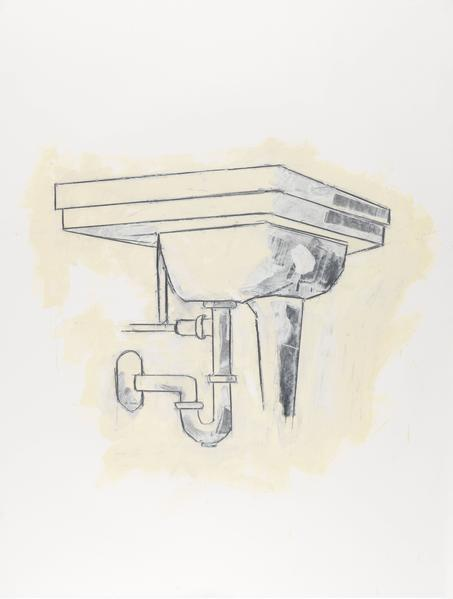 Donald Baechler 	SINK  1981 	Graphite and oil-based enamel on paper 	46 x 35 inches 	116.8 x 88.9 centimeters