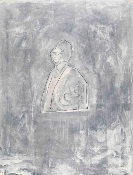Donald Baechler 	OUM KALSOUM  1981 	Graphite and oil-based enamel on paper 	46 x 35 inches 	116.8 x 88.9 centimeters
