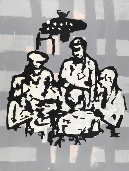 Donald Baechler 	RESORT GROUP (FOOD) SECOND VERSION  1982 	Oil based enamel on paper 	46 x 35 inches 	116.8 x 88.9 centimeters