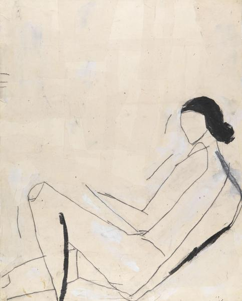 Donald Baechler 	RECLINING NUDE (AFTER SHELBY CREAGH)  1982 	Acrylic, graphite and muslin collage on paper 	40 x 32 inches 	101.6 x 81.3 centimeters