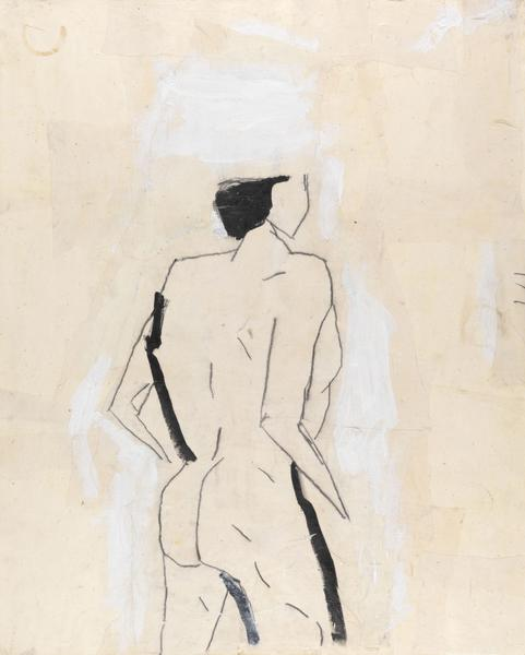 Donald Baechler 	STANDING NUDE (AFTER SHELBY CREAGH)  1982 	Acrylic, graphite and muslin collage on paper 	40 x 32 inches 	101.6 x 81.3 centimeters