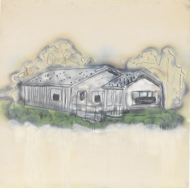 Donald Baechler 	HOUSE  1980 	Graphite, spray enamel and oil-based enamel on paper 	42 x 42 inches 	106.7 x 106.7 centimeters