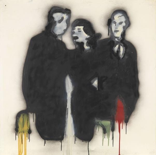 Donald Baechler 	THREE FIGURES (WALL STREET WEEK)  1980 	Graphite, spray enamel and oil-based enamel on paper 	42 x 42 inches 	106.7 x 106.7 centimeters
