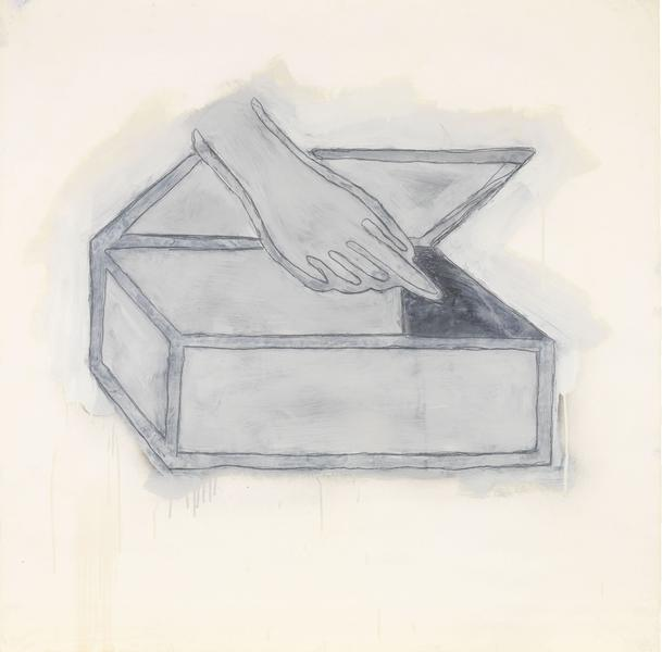 Donald Baechler 	HAND WITH BOX  1980 	Graphite, spray enamel and oil-based enamel on paper 	42 x 42 inches 	106.7 x 106.7 centimeters