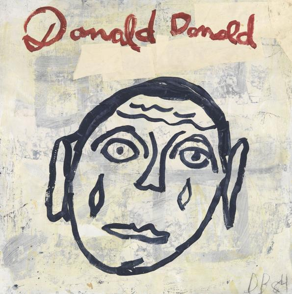 "Donald Baechler 	DONALD DONALD (STUDY FOR ""VICTIMS OF EMIGRANTS"")  1984 	Acrylic and paper collage on paper 	36 x 36 inches 	91.4 x 91.4 centimeters"