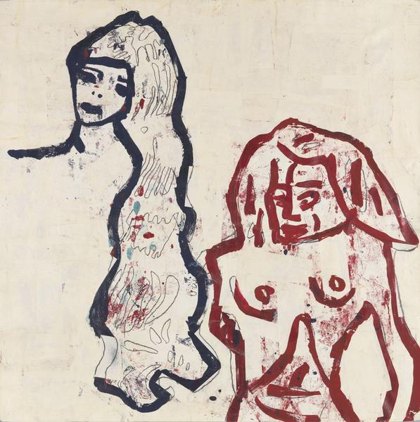 Donald Baechler 	GIRL AND BATHER  1983 	Acrylic, tempera, graphite and paper collage on paper 	36 x 36 inches 	91.4 x 91.4 centimeters