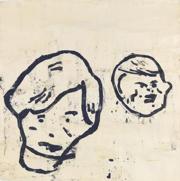 Donald Baechler 	UNTITLED (2 BOYS)  1983 	Acrylic, tempera, graphite and paper collage on paper 	36 x 36 inches 	91.4 x 91.4 centimeters