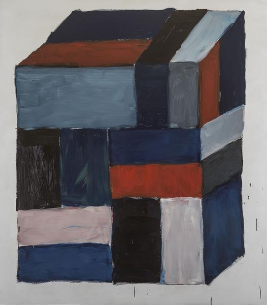 Sean Scully 	BLOCK RED  2016 	Oil on aluminum 	85 x 75 inches 	215.9 x 190.5 centimeters