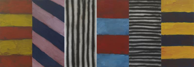 Sean Scully 	BLUE NOTE  2016 	Oil and acrylic spray on aluminum 	110 x 320 inches 	279.4 x 812.8 centimeters  p.p1 {margin: 0.0px 0.0px 0.0px 0.0px; font: 14.0px Garamond}