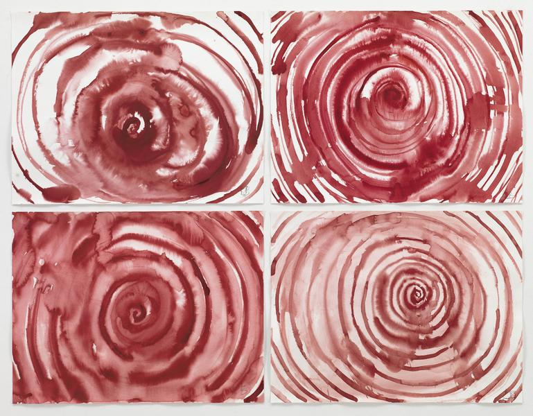 Louise Bourgeois 	SPIRAL  2009 	Gouache on paper, suite of 4 	18 x 23 1/2 inches 	45.7 x 59.7 centimeters