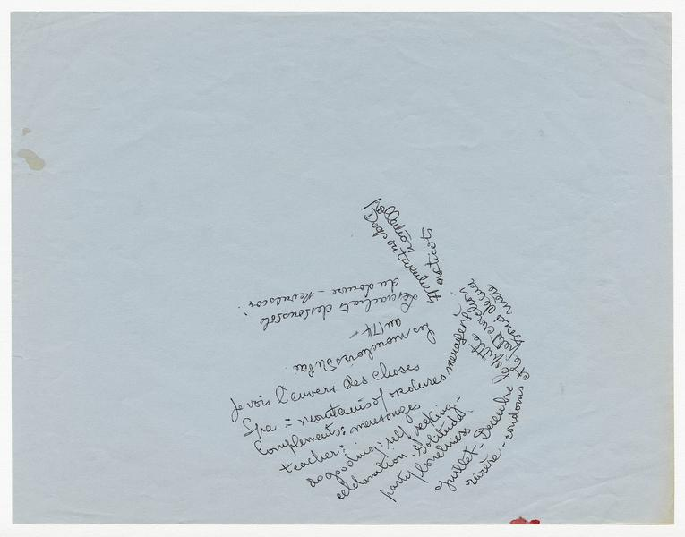 Louise Bourgeois 	LOOSE SHEET OF WRITING   1986 	Loose sheet (ink on blue paper) 	8 1/2 x 11 inches 	21.6 x 27.9 centimeters