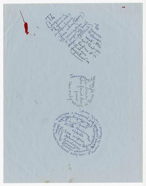 Louise Bourgeois 	LOOSE SHEET OF WRITING   1986 	Loose sheet (ink on blue paper) 	11 x 8 1/2 inches 	27.9 x 21.6 centimeters