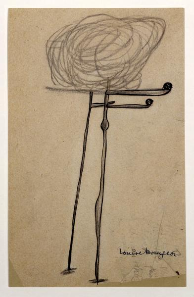 Louise Bourgeois 	UNTITLED  1947 	Ink and charcoal on paper 	8 x 5 inches 	20.3 x 12.7 centimeters