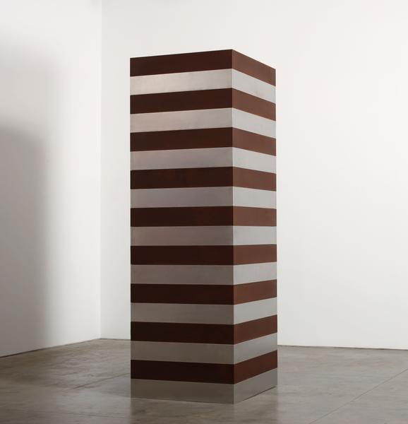 Sean Scully 	BROWN SILVER TOWER  2016 	Corten and stainless steel 	108 x 36 x 36 inches 	274.3 x 91.4 x 91.4 centimeters