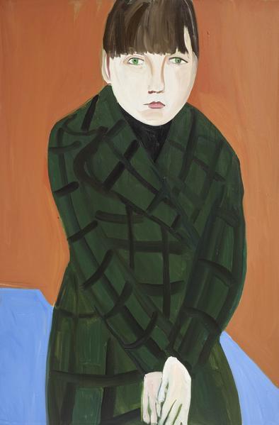 Chantal Joffe ESME IN A TARTAN COAT 2016 Oil on canvas 72 1/8 x 48 1/8 inches 183.2 x 122.2 centimeters